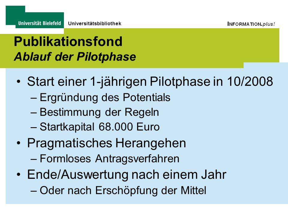 Universitätsbibliothek Publikationsfond Ablauf der Pilotphase Start einer 1-jährigen Pilotphase in 10/2008 –Ergründung des Potentials –Bestimmung der