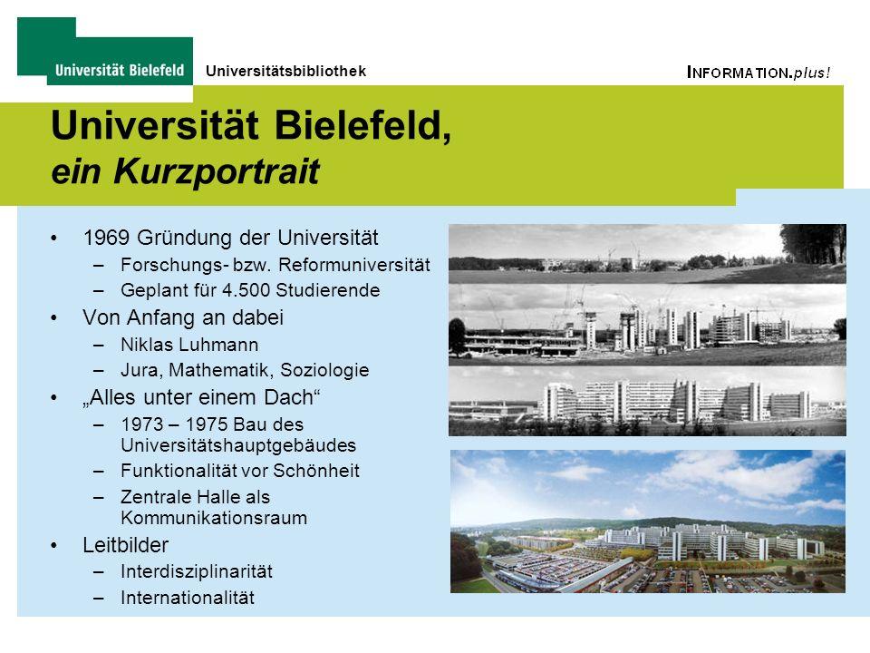 Universitätsbibliothek Universität Bielefeld, ein Kurzportrait 1969 Gründung der Universität –Forschungs- bzw. Reformuniversität –Geplant für 4.500 St