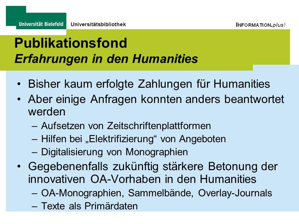 Universitätsbibliothek Publikationsfond Erfahrungen in den Humanities Bisher kaum erfolgte Zahlungen für Humanities Aber einige Anfragen konnten ander