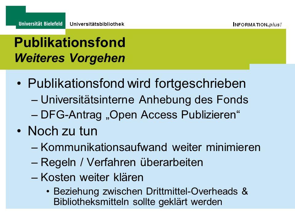 Universitätsbibliothek Publikationsfond Weiteres Vorgehen Publikationsfond wird fortgeschrieben –Universitätsinterne Anhebung des Fonds –DFG-Antrag Op