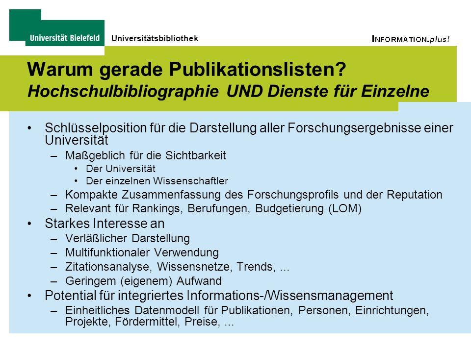 Universitätsbibliothek Warum gerade Publikationslisten? Hochschulbibliographie UND Dienste für Einzelne Schlüsselposition für die Darstellung aller Fo