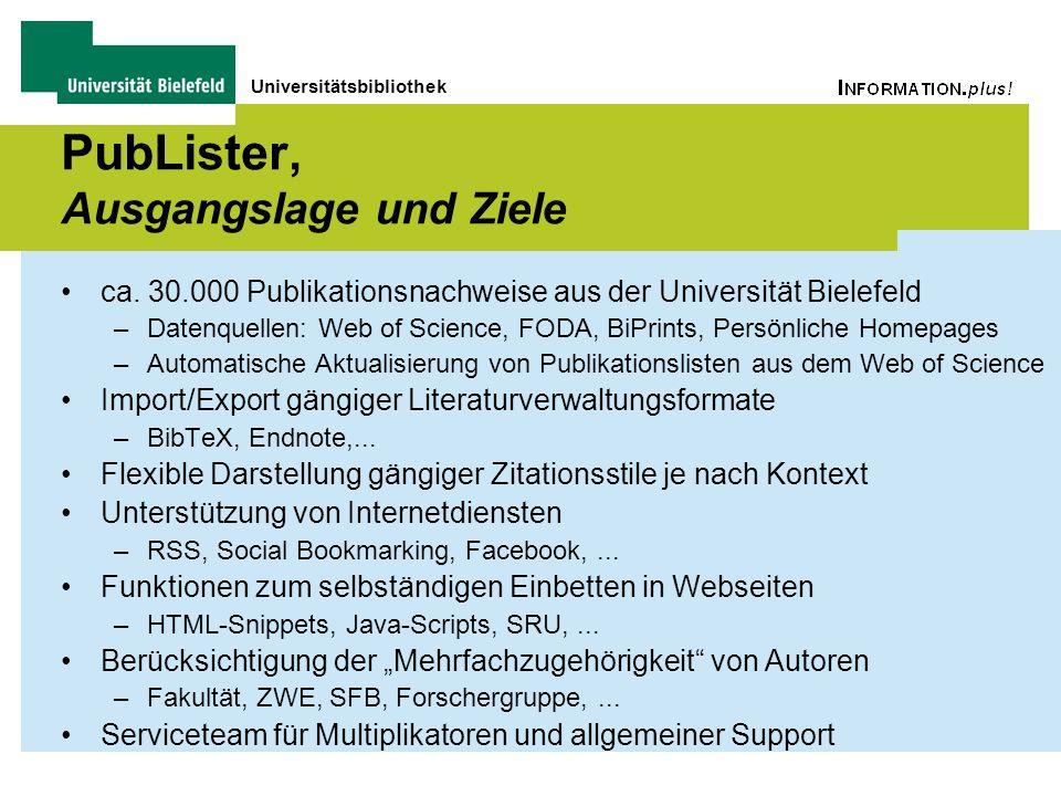 Universitätsbibliothek PubLister, Ausgangslage und Ziele ca. 30.000 Publikationsnachweise aus der Universität Bielefeld –Datenquellen: Web of Science,