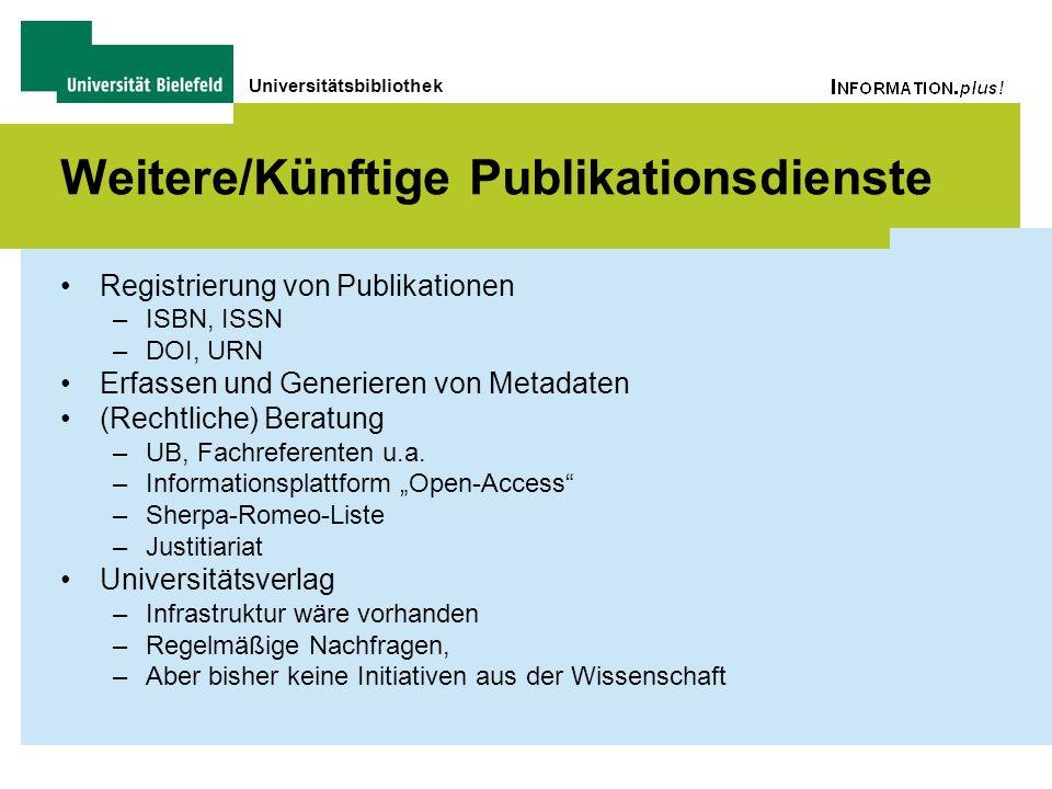 Universitätsbibliothek Weitere/Künftige Publikationsdienste Registrierung von Publikationen –ISBN, ISSN –DOI, URN Erfassen und Generieren von Metadate