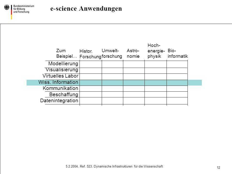 10 5.2.2004, Ref. 523, Dynamische Infrastrukturen für die Wissenschaft e-science Initiative Ziel Wissenschaft und Forschung in Deutschland nutzen inte
