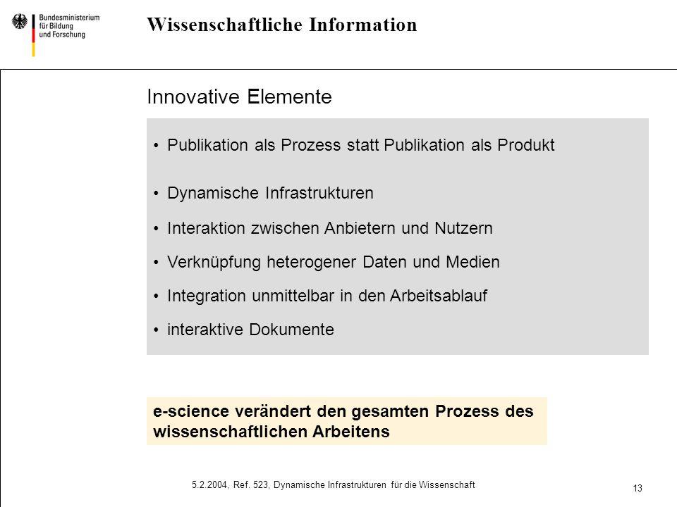 11 5.2.2004, Ref. 523, Dynamische Infrastrukturen für die Wissenschaft e-science Initiative Stärkung von Wissenschaft und Forschung Hervorragende Arbe