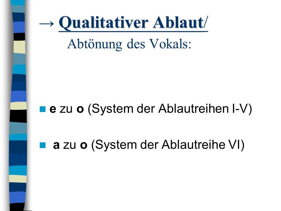 Quantitativer Ablaut: vor den Sonanten l/ m/ n/ r durch u vor Konsonanten durch einen Ersatzvokal