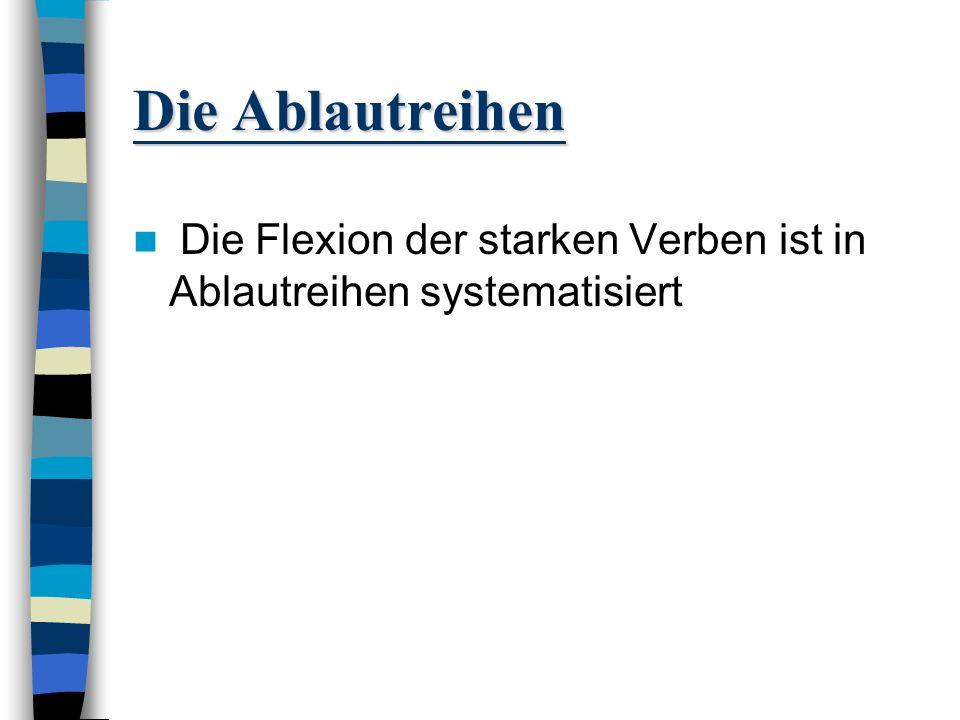 Qualitativer Ablaut Qualitativer Ablaut/ Abtönung des Vokals: e zu o (System der Ablautreihen I-V) a zu o (System der Ablautreihe VI)