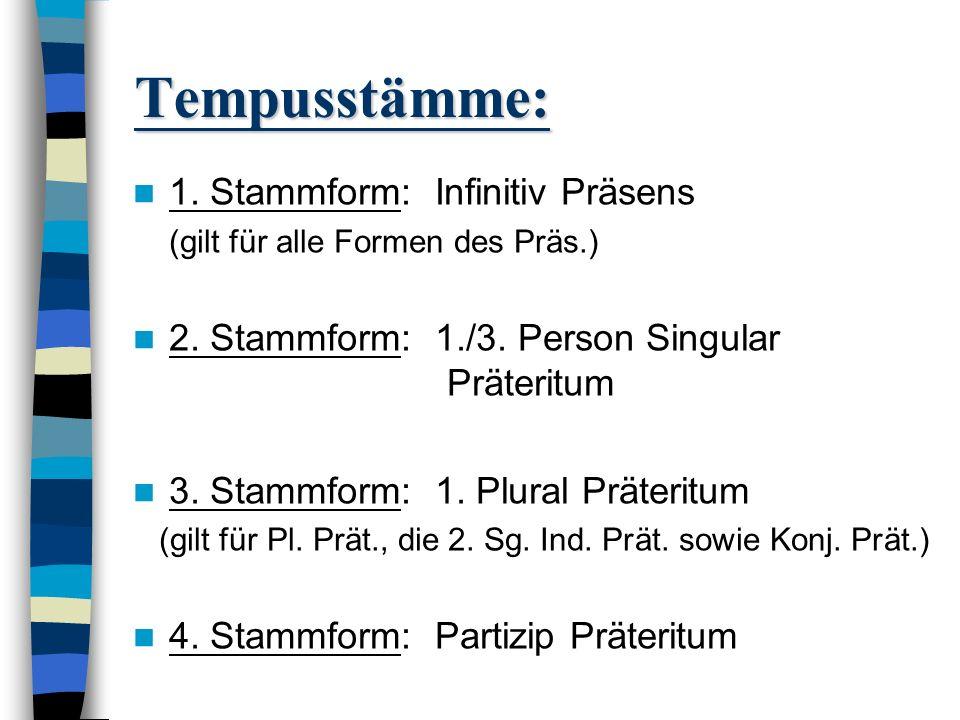 Tempusstämme: Man unterscheidet 4 Stammformen (Tempusstämme), von denen jede für eine Gruppe von Formen steht: