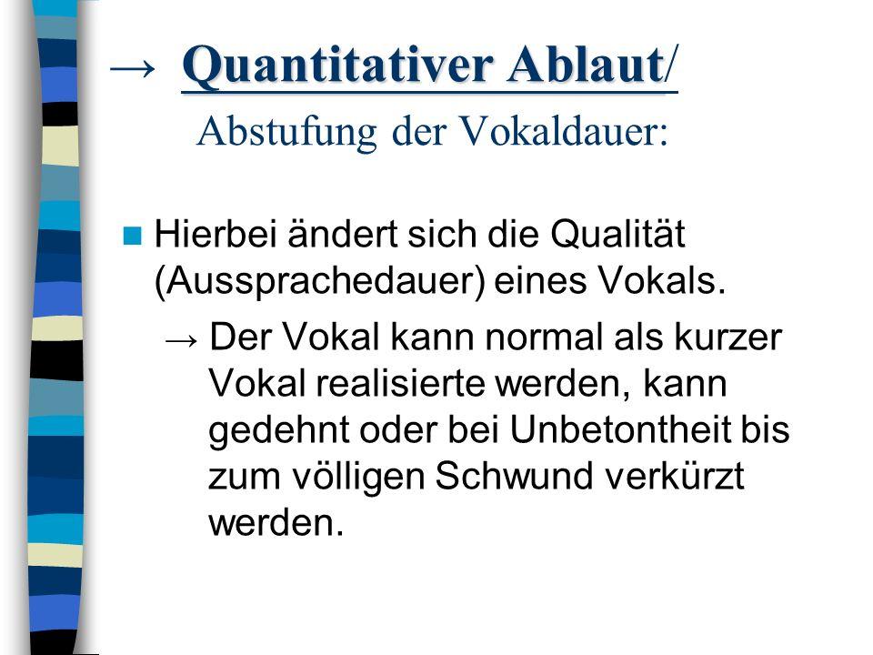 Es gibt einen... quantitativen Ablaut (Abstufung), der die Vokallänge ändert & einen qualitativen Ablaut (Abtönung), der die Vokalfarbe ändert.