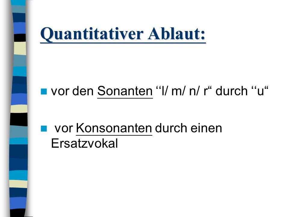 Quantitativer Ablaut: Grundstufe: Kurzvokal Dehnstufe: Langvokal Schwundstufe: Vokal wird aufgegeben und durch anderen Vokal ersetzt X e,i,o,u