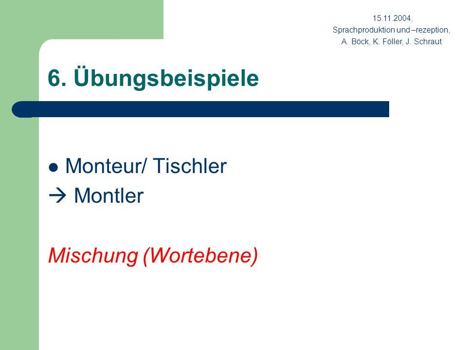6. Übungsbeispiele Monteur/ Tischler Montler Mischung (Wortebene) 15.11.2004, Sprachproduktion und –rezeption, A. Böck, K. Föller, J. Schraut