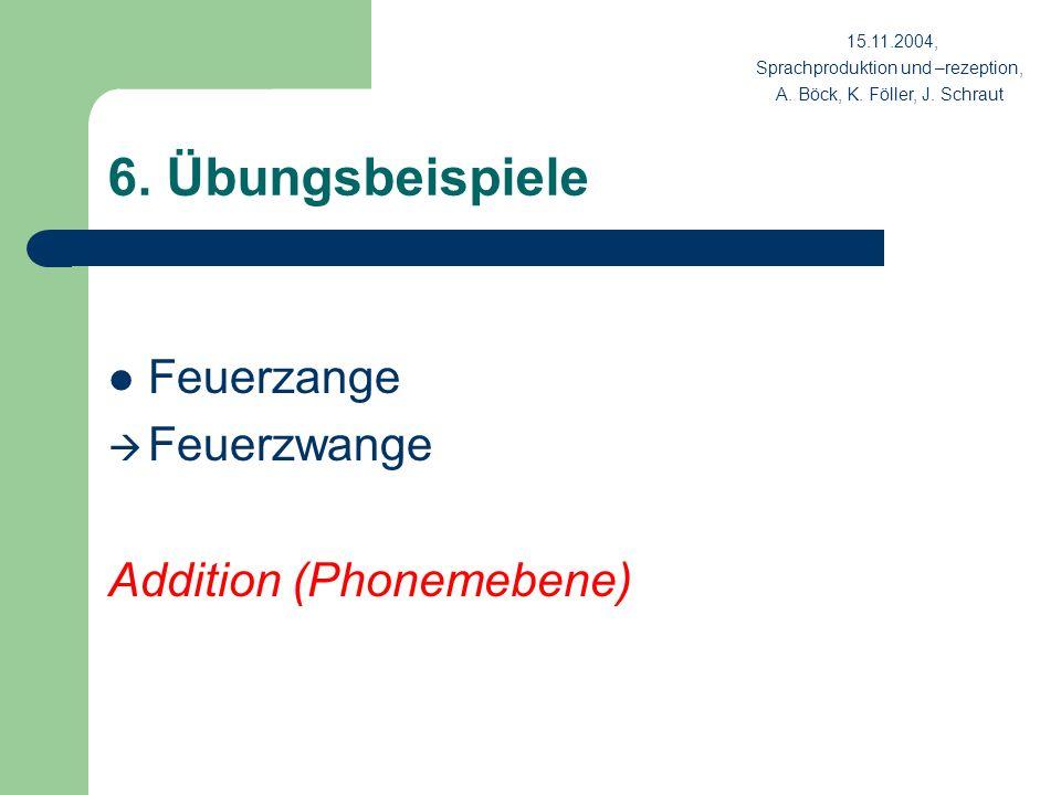 6. Übungsbeispiele Feuerzange Feuerzwange Addition (Phonemebene) 15.11.2004, Sprachproduktion und –rezeption, A. Böck, K. Föller, J. Schraut