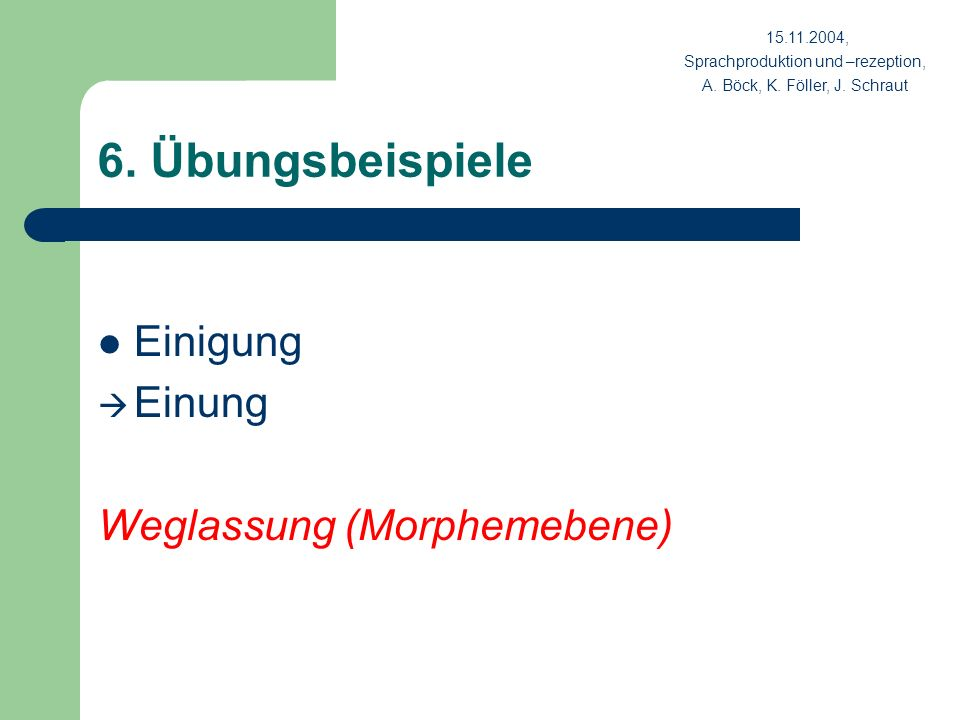 6. Übungsbeispiele Einigung Einung Weglassung (Morphemebene) 15.11.2004, Sprachproduktion und –rezeption, A. Böck, K. Föller, J. Schraut
