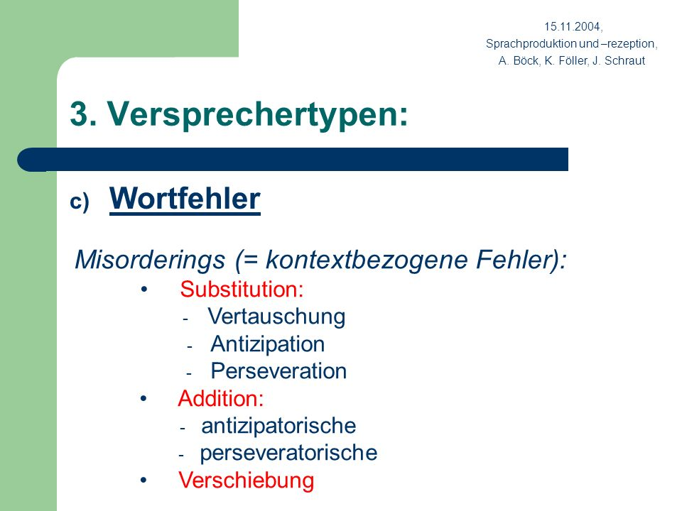 3. Versprechertypen: c) Wortfehler Misorderings (= kontextbezogene Fehler): Substitution: - Vertauschung - Antizipation - Perseveration Addition: - an