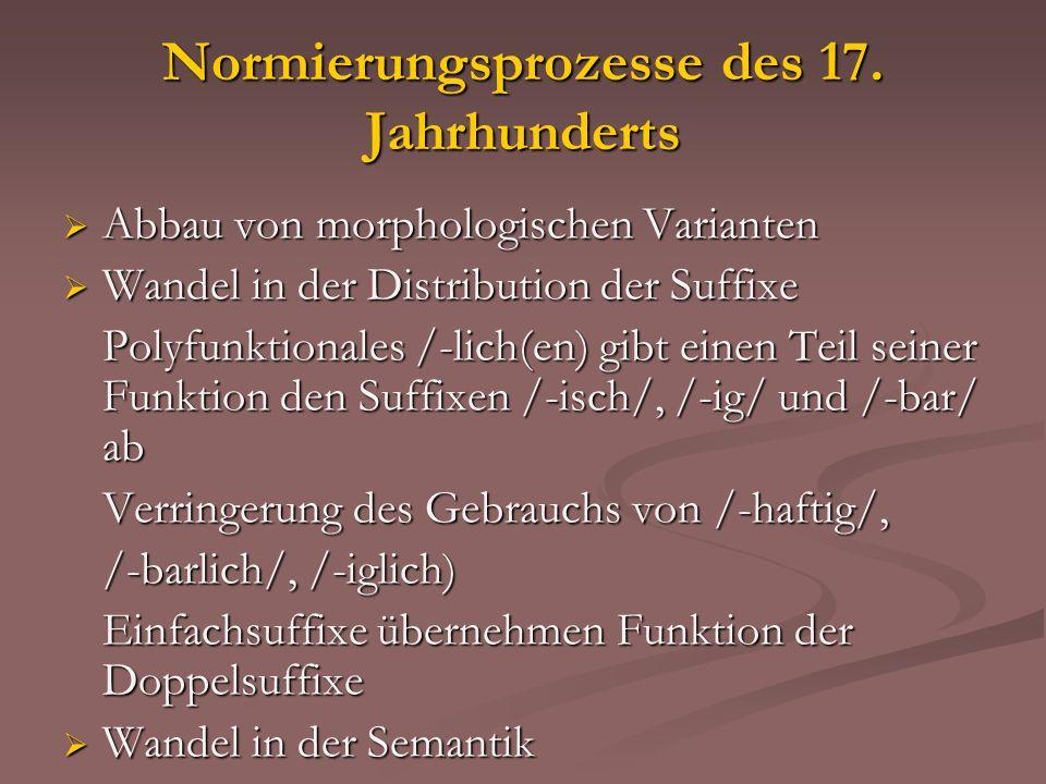 Normierungsprozesse des 17. Jahrhunderts Abbau von morphologischen Varianten Abbau von morphologischen Varianten Wandel in der Distribution der Suffix
