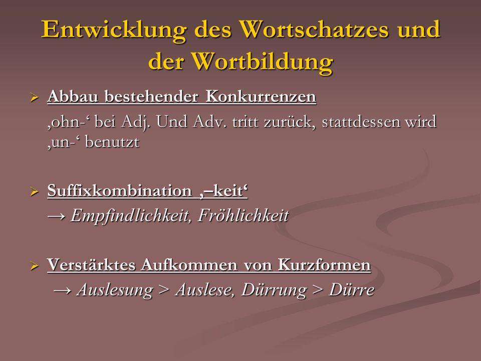 Entwicklung des Wortschatzes und der Wortbildung Abbau bestehender Konkurrenzen Abbau bestehender Konkurrenzen ohn- bei Adj. Und Adv. tritt zurück, st