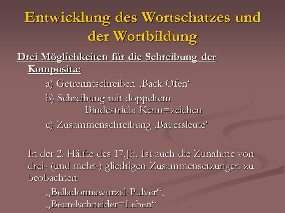 Entwicklung des Wortschatzes und der Wortbildung Drei Möglichkeiten für die Schreibung der Komposita: a) Getrenntschreiben Back Ofen b) Schreibung mit