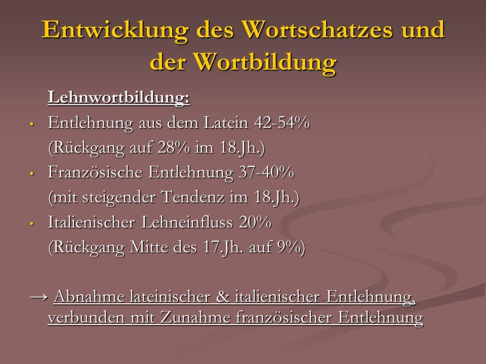 Entwicklung des Wortschatzes und der Wortbildung Lehnwortbildung: Entlehnung aus dem Latein 42-54% Entlehnung aus dem Latein 42-54% (Rückgang auf 28%
