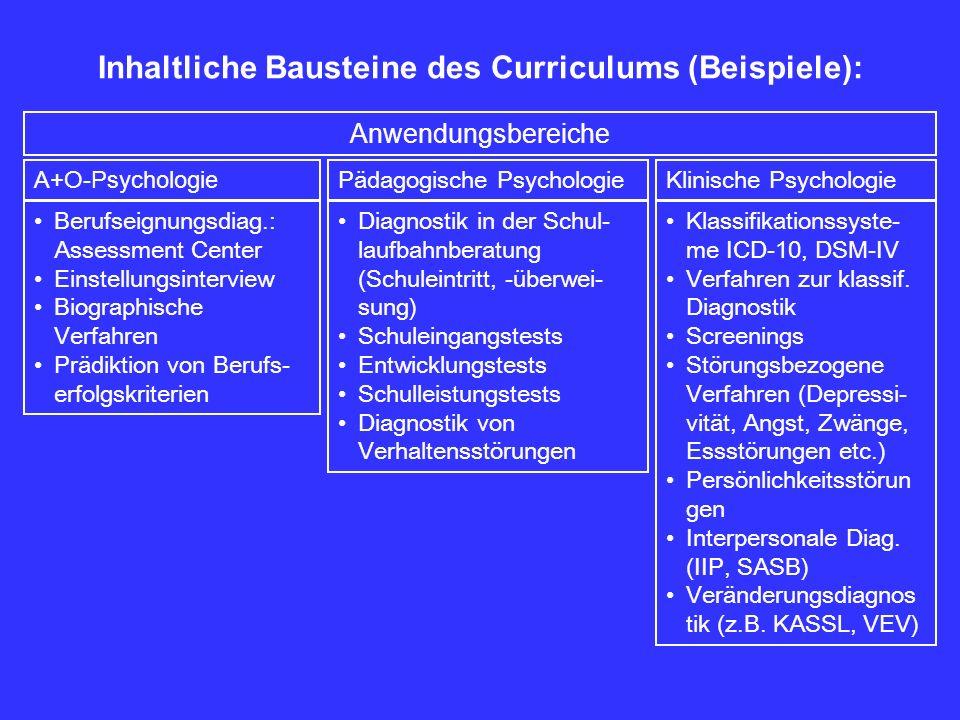 Inhaltliche Bausteine des Curriculums (Beispiele): Berufseignungsdiag.: Assessment Center Einstellungsinterview Biographische Verfahren Prädiktion von