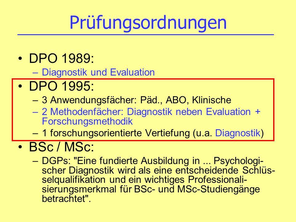 Prüfungsordnungen DPO 1989: –Diagnostik und Evaluation DPO 1995: –3 Anwendungsfächer: Päd., ABO, Klinische –2 Methodenfächer: Diagnostik neben Evaluat
