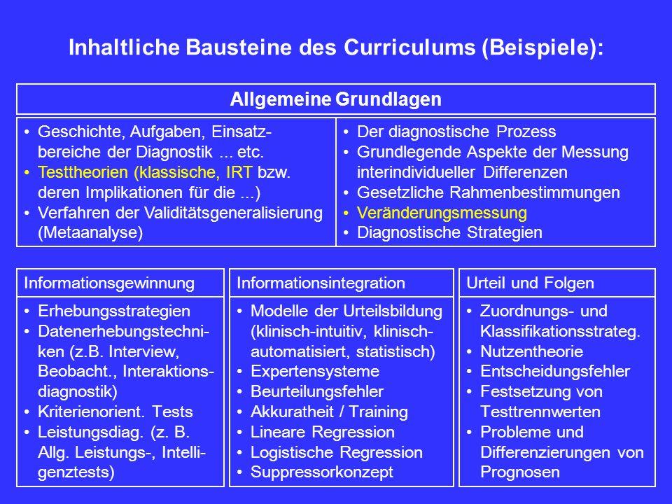 Inhaltliche Bausteine des Curriculums (Beispiele): Geschichte, Aufgaben, Einsatz- bereiche der Diagnostik... etc. Testtheorien (klassische, IRT bzw. d