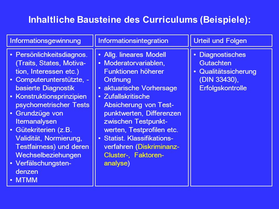 Inhaltliche Bausteine des Curriculums (Beispiele): Persönlichkeitsdiagnos. (Traits, States, Motiva- tion, Interessen etc.) Computerunterstützte, - bas