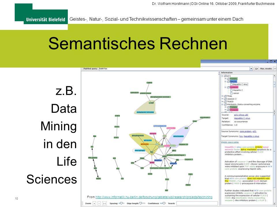 10 Geistes-, Natur-, Sozial- und Technikwissenschaften – gemeinsam unter einem Dach Dr. Wolfram Horstmann | DGI-Online 16. Oktober 2009, Frankfurter B
