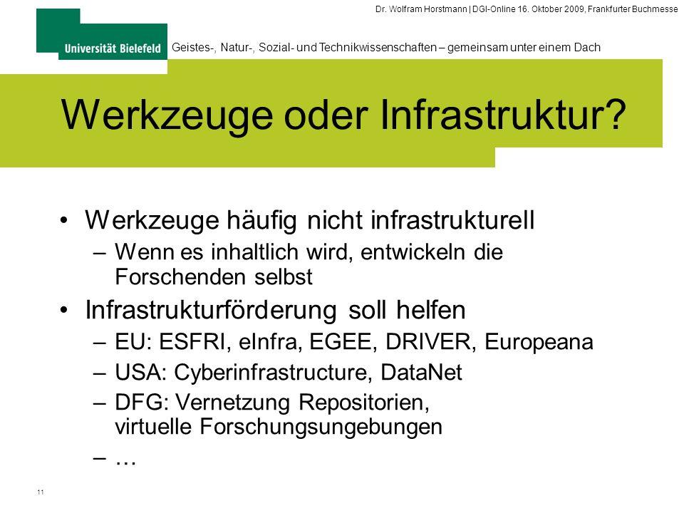 11 Geistes-, Natur-, Sozial- und Technikwissenschaften – gemeinsam unter einem Dach Dr. Wolfram Horstmann | DGI-Online 16. Oktober 2009, Frankfurter B