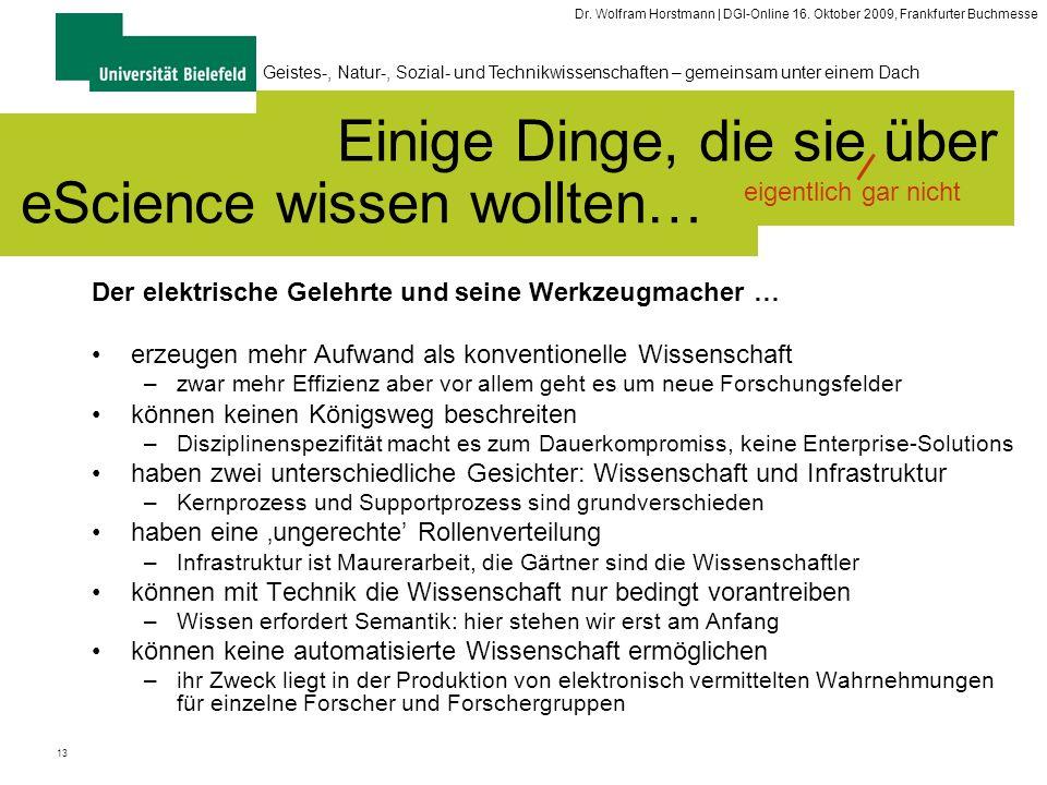 13 Geistes-, Natur-, Sozial- und Technikwissenschaften – gemeinsam unter einem Dach Dr. Wolfram Horstmann | DGI-Online 16. Oktober 2009, Frankfurter B