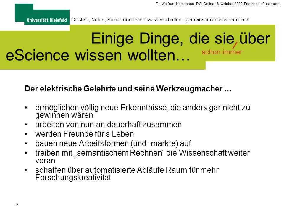 14 Geistes-, Natur-, Sozial- und Technikwissenschaften – gemeinsam unter einem Dach Dr. Wolfram Horstmann | DGI-Online 16. Oktober 2009, Frankfurter B