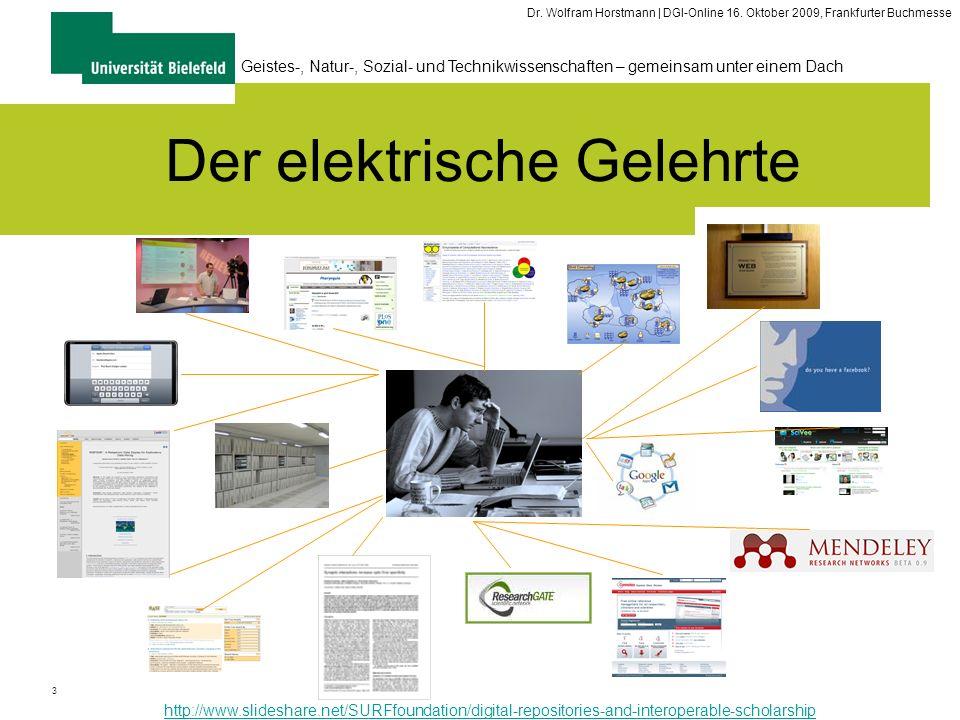 3 Geistes-, Natur-, Sozial- und Technikwissenschaften – gemeinsam unter einem Dach Dr. Wolfram Horstmann | DGI-Online 16. Oktober 2009, Frankfurter Bu