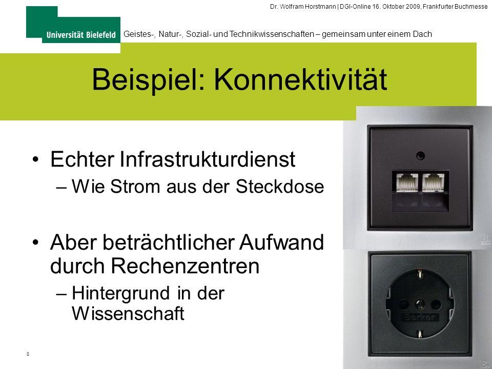 8 Geistes-, Natur-, Sozial- und Technikwissenschaften – gemeinsam unter einem Dach Dr. Wolfram Horstmann | DGI-Online 16. Oktober 2009, Frankfurter Bu