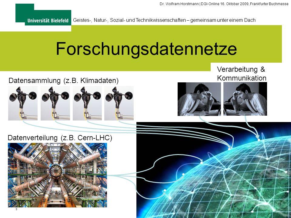 9 Geistes-, Natur-, Sozial- und Technikwissenschaften – gemeinsam unter einem Dach Dr. Wolfram Horstmann | DGI-Online 16. Oktober 2009, Frankfurter Bu