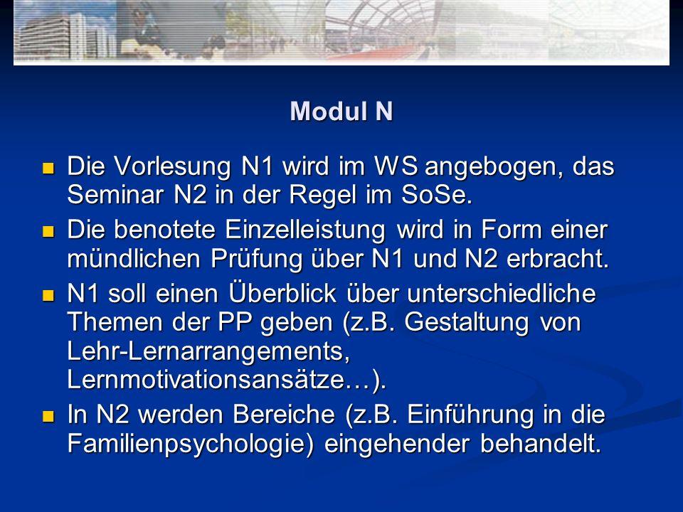 Modul N Die Vorlesung N1 wird im WS angebogen, das Seminar N2 in der Regel im SoSe. Die Vorlesung N1 wird im WS angebogen, das Seminar N2 in der Regel