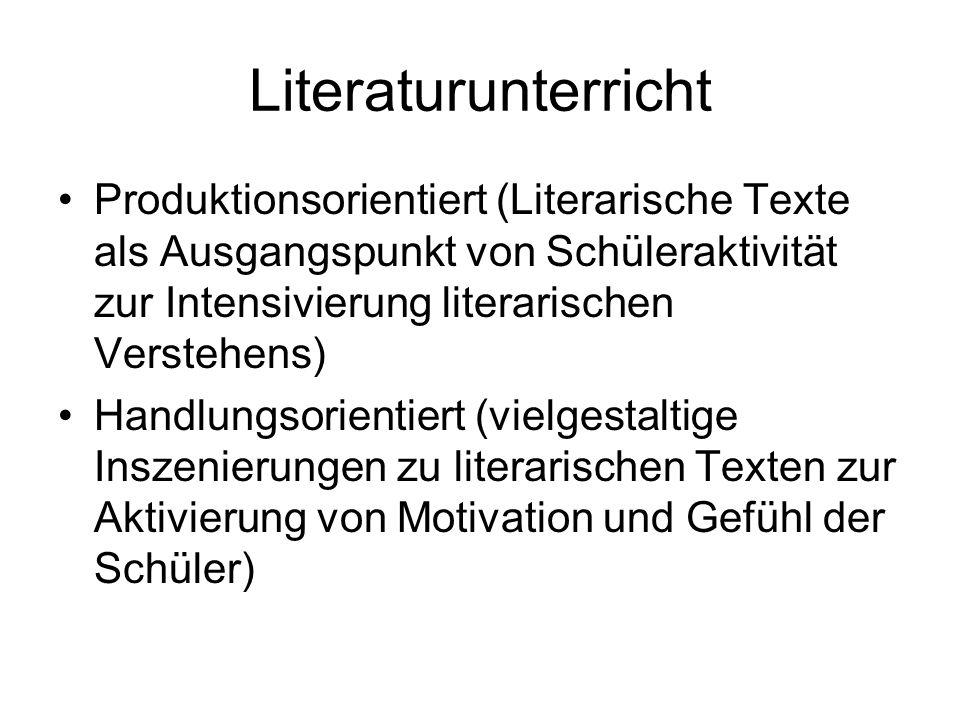 Literaturunterricht Produktionsorientiert (Literarische Texte als Ausgangspunkt von Schüleraktivität zur Intensivierung literarischen Verstehens) Hand