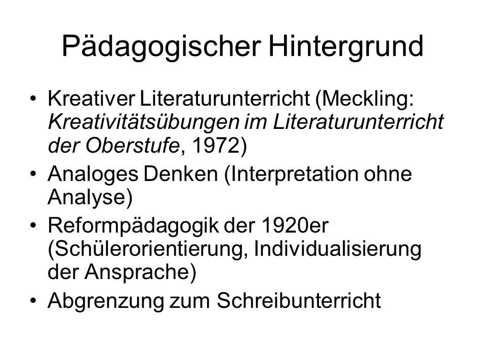 Pädagogischer Hintergrund Kreativer Literaturunterricht (Meckling: Kreativitätsübungen im Literaturunterricht der Oberstufe, 1972) Analoges Denken (In