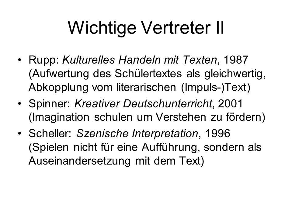 Wichtige Vertreter II Rupp: Kulturelles Handeln mit Texten, 1987 (Aufwertung des Schülertextes als gleichwertig, Abkopplung vom literarischen (Impuls-