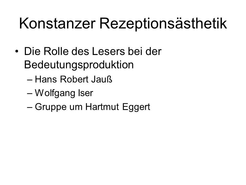 Konstanzer Rezeptionsästhetik Die Rolle des Lesers bei der Bedeutungsproduktion –Hans Robert Jauß –Wolfgang Iser –Gruppe um Hartmut Eggert