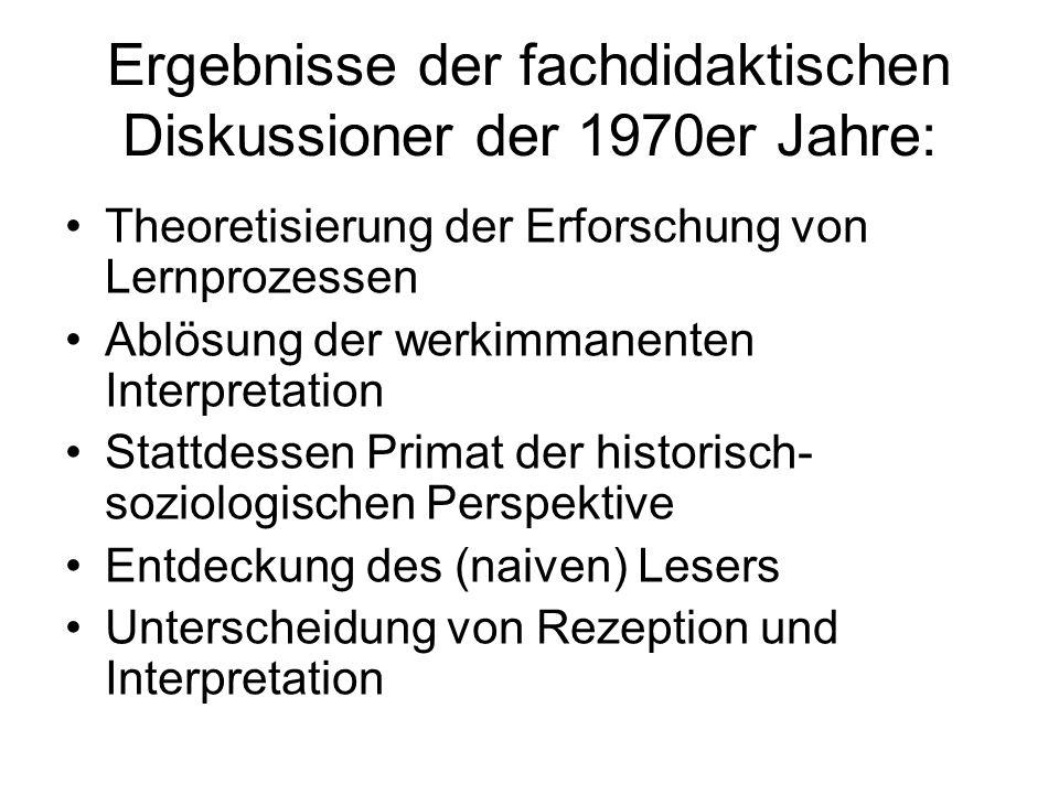 Ergebnisse der fachdidaktischen Diskussioner der 1970er Jahre: Theoretisierung der Erforschung von Lernprozessen Ablösung der werkimmanenten Interpret