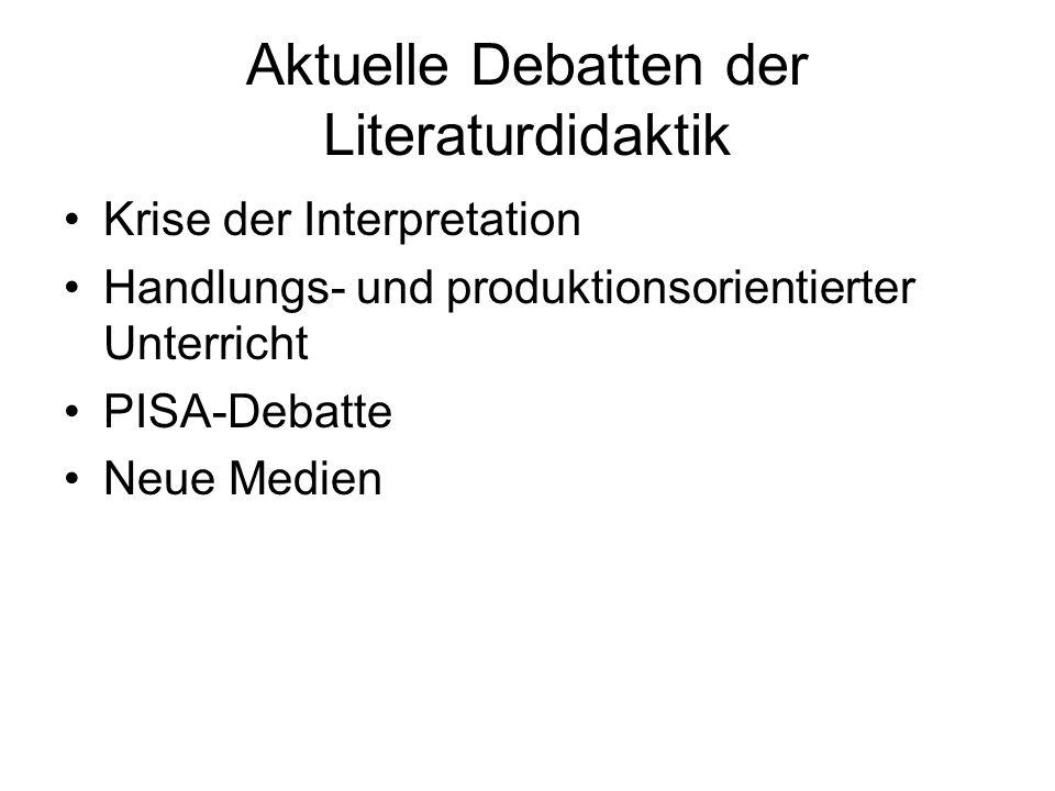Aktuelle Debatten der Literaturdidaktik Krise der Interpretation Handlungs- und produktionsorientierter Unterricht PISA-Debatte Neue Medien
