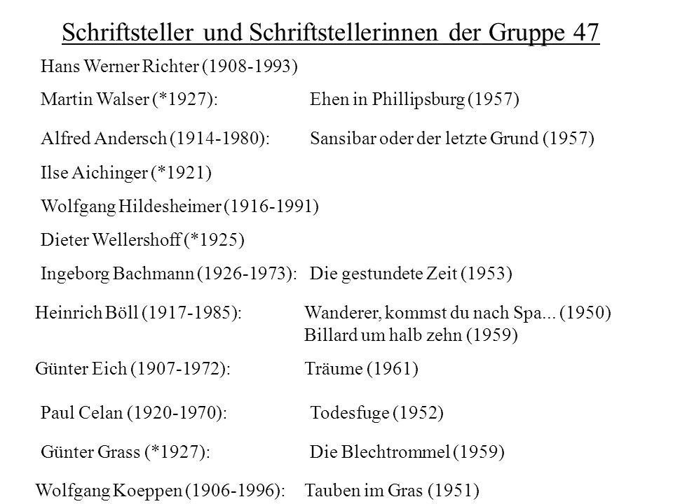Schriftsteller und Schriftstellerinnen der Gruppe 47 Alfred Andersch (1914-1980):Sansibar oder der letzte Grund (1957) Ilse Aichinger (*1921) Ingeborg
