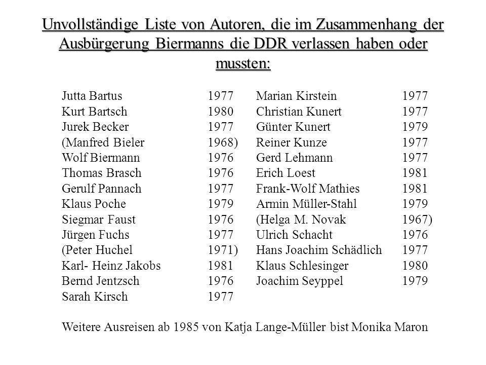 Primärliteratur: Biermann, Wolf: Preußischer Ikarus (1978) [Lyrik] Braun, Volker: Training des aufrechten Gangs (1979) Braun, Volker: Unvollendete Geschichte (1975/88) Heiduczek, Werner: Tod am Meer (1977) Kirsch, Sarah: Die Pantherfrau (1973) Kirsten, Wulf: satzanfang (1970) [Lyrik] Kunze, Reiner: Die wunderbaren Jahre (1976) Loest, Erich: Es geht seinen Gang oder Mühen in unserer Ebene (1978) Morgner, Irmtraud: Leben und Abenteuer der Trobadora Beatriz nach Zeugnissen ihrer Spielfrau Laura (1974) Müller, Heiner: Die Schlacht (1975) [Drama] Müller, Heiner: Germania Tod in Berlin (1971) [Drama] Plenzdorf, Ulrich: Die neuen Leiden des jungen W.