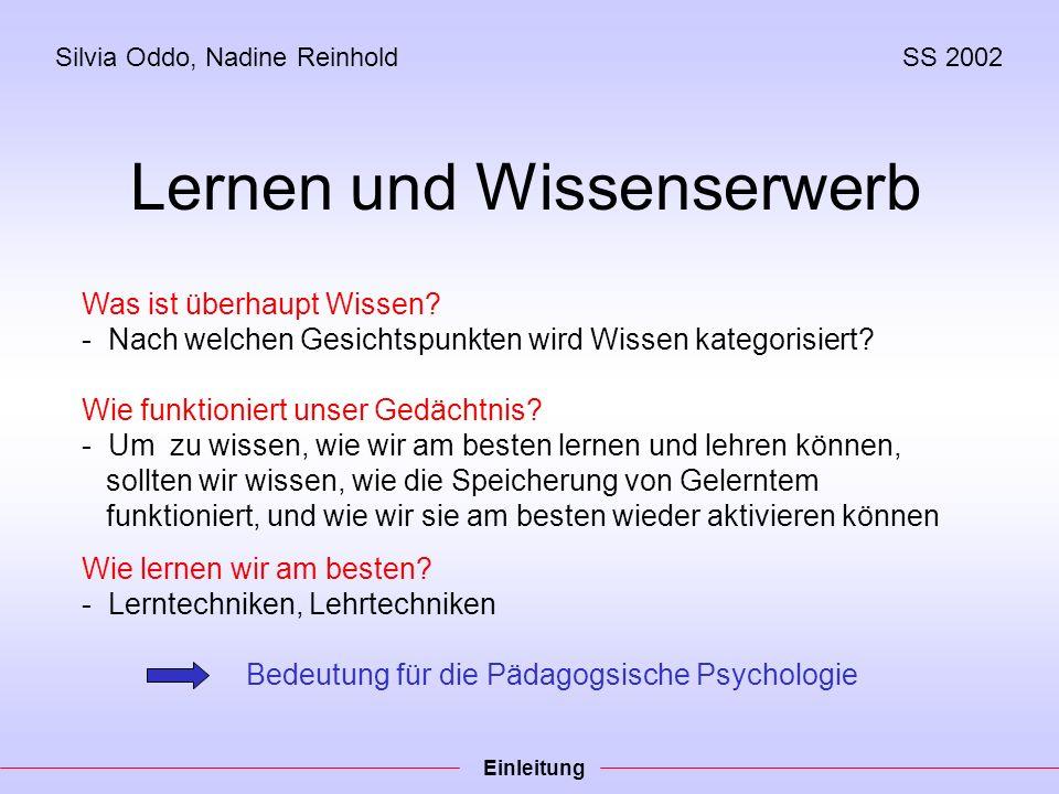 Silvia Oddo, Nadine ReinholdSS 2002 Lernen und Wissenserwerb Was ist überhaupt Wissen.