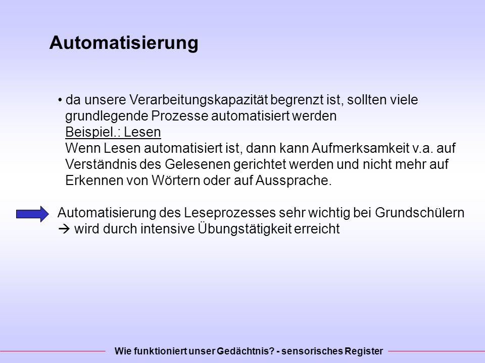 Automatisierung da unsere Verarbeitungskapazität begrenzt ist, sollten viele grundlegende Prozesse automatisiert werden Beispiel.: Lesen Wenn Lesen automatisiert ist, dann kann Aufmerksamkeit v.a.