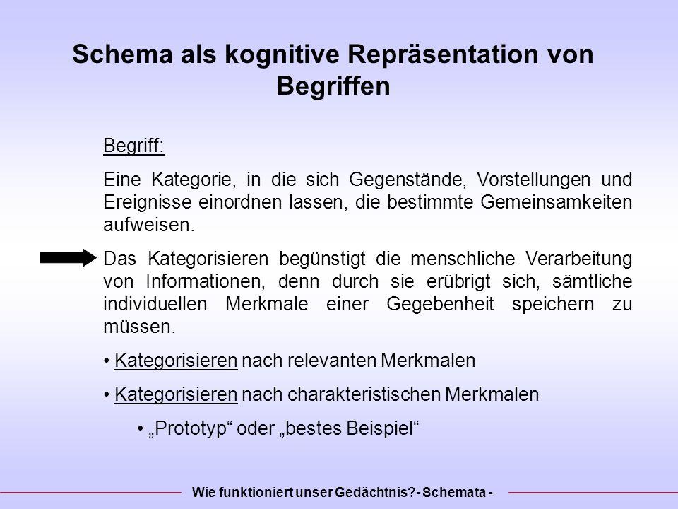 Schema als kognitive Repräsentation von Begriffen Begriff: Eine Kategorie, in die sich Gegenstände, Vorstellungen und Ereignisse einordnen lassen, die bestimmte Gemeinsamkeiten aufweisen.