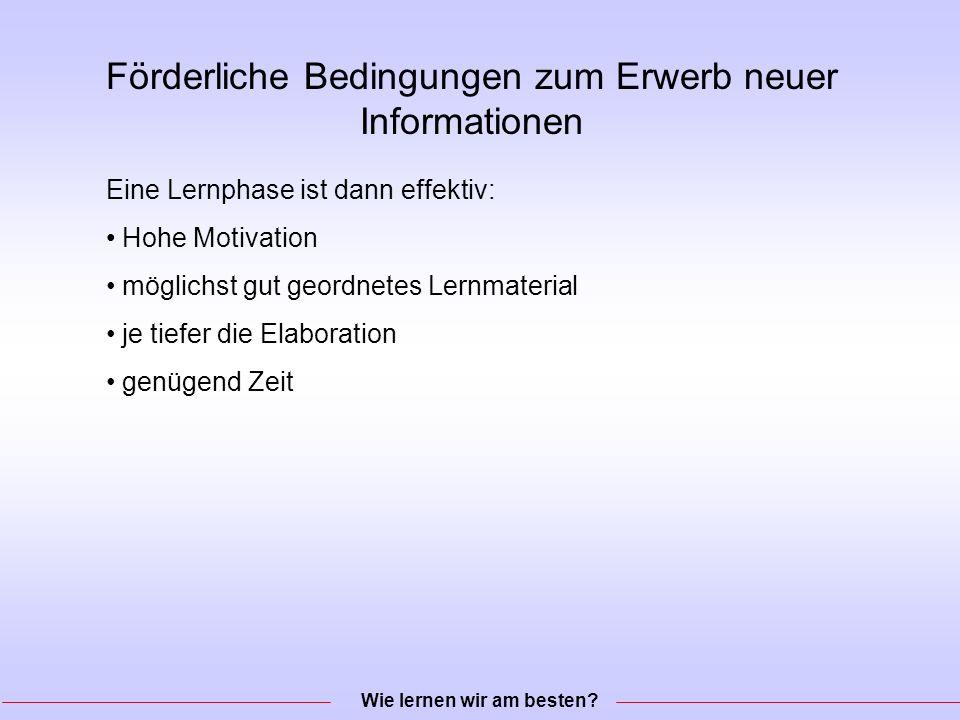Förderliche Bedingungen zum Erwerb neuer Informationen Wie lernen wir am besten.