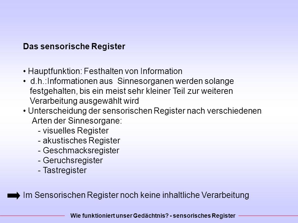Das sensorische Register Hauptfunktion: Festhalten von Information d.h.:Informationen aus Sinnesorganen werden solange festgehalten, bis ein meist sehr kleiner Teil zur weiteren Verarbeitung ausgewählt wird Unterscheidung der sensorischen Register nach verschiedenen Arten der Sinnesorgane: - visuelles Register - akustisches Register - Geschmacksregister - Geruchsregister - Tastregister Im Sensorischen Register noch keine inhaltliche Verarbeitung Wie funktioniert unser Gedächtnis.