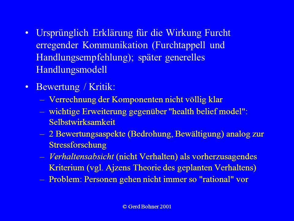 © Gerd Bohner 2001 Ursprünglich Erklärung für die Wirkung Furcht erregender Kommunikation (Furchtappell und Handlungsempfehlung); später generelles Ha