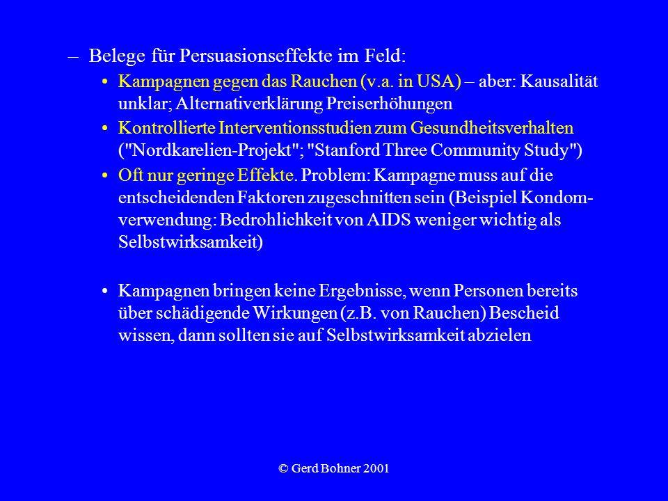 © Gerd Bohner 2001 –Belege für Persuasionseffekte im Feld: Kampagnen gegen das Rauchen (v.a. in USA) – aber: Kausalität unklar; Alternativerklärung Pr