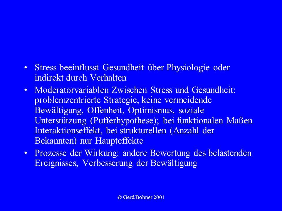 © Gerd Bohner 2001 Stress beeinflusst Gesundheit über Physiologie oder indirekt durch Verhalten Moderatorvariablen Zwischen Stress und Gesundheit: pro